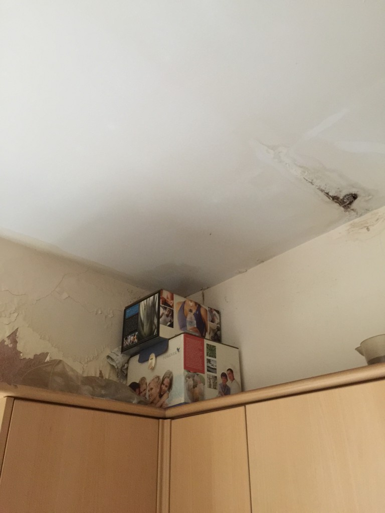 damaged ceiling and damp walls